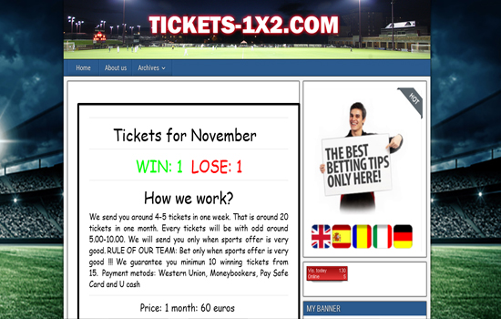 tickets-1x2 com, Info, Review, Fraud, Scam, Blacklist Tipsters